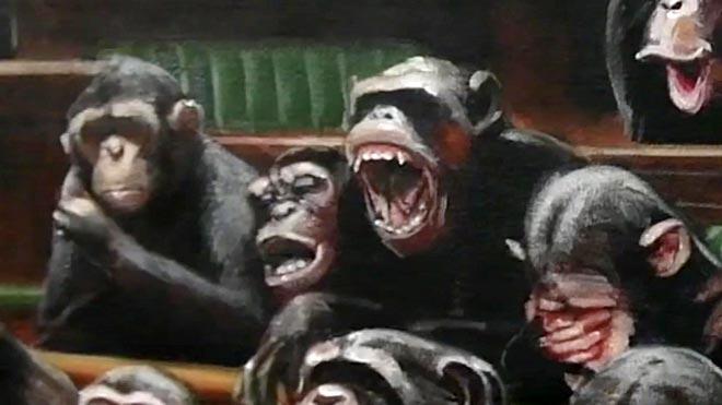 Un oleo de Banksy con chimpancés en el parlamento se vende por 11 millones de Euros.