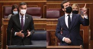 Pedro Sánchez y Pablo Casado, en uno de sus enfrentamientos en el Congreso.