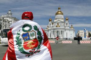 Un aficionado peruano en Rusia.