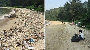La playa de Sam Pak Wan, en Hong Kong, tras una jornada de limpieza en el 2016.