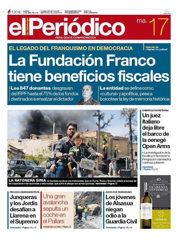 La portada de EL PERIÓDICO del 17 de abril del 2018