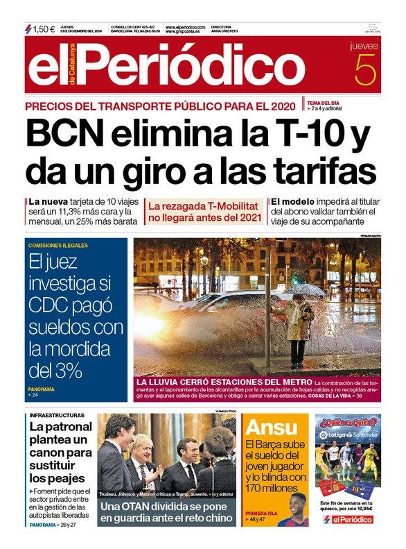 La portada de EL PERIÓDICO del 5 de diciembre del 2019.