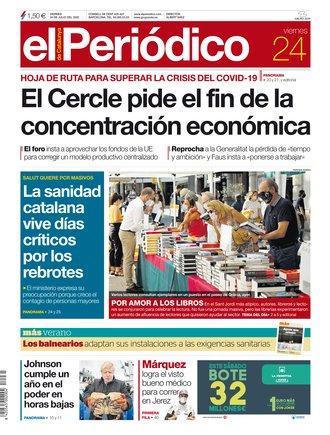 La portada de EL PERIÓDICO del 24 de julio del 2020