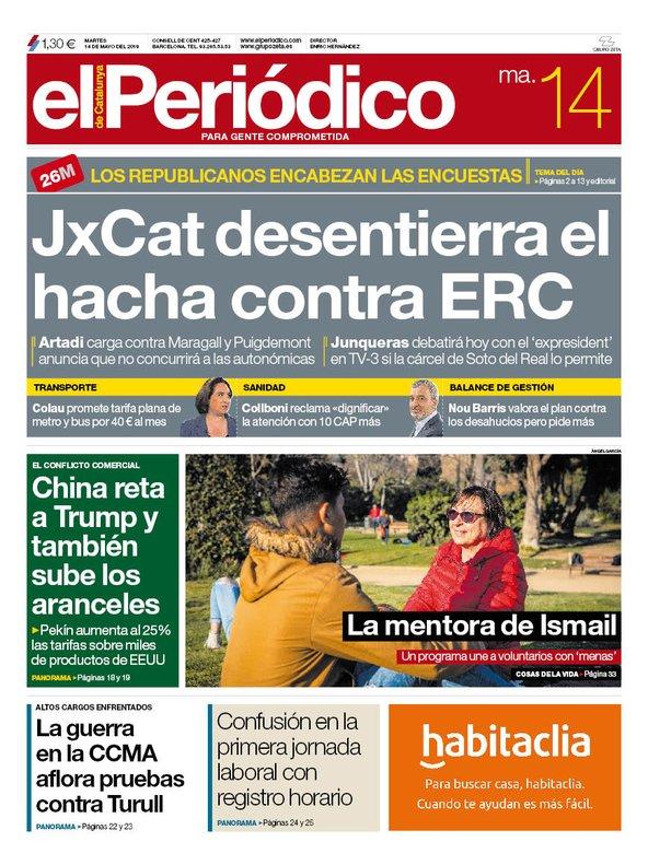 La portada de EL PERIÓDICO del 14 de mayo del 2019