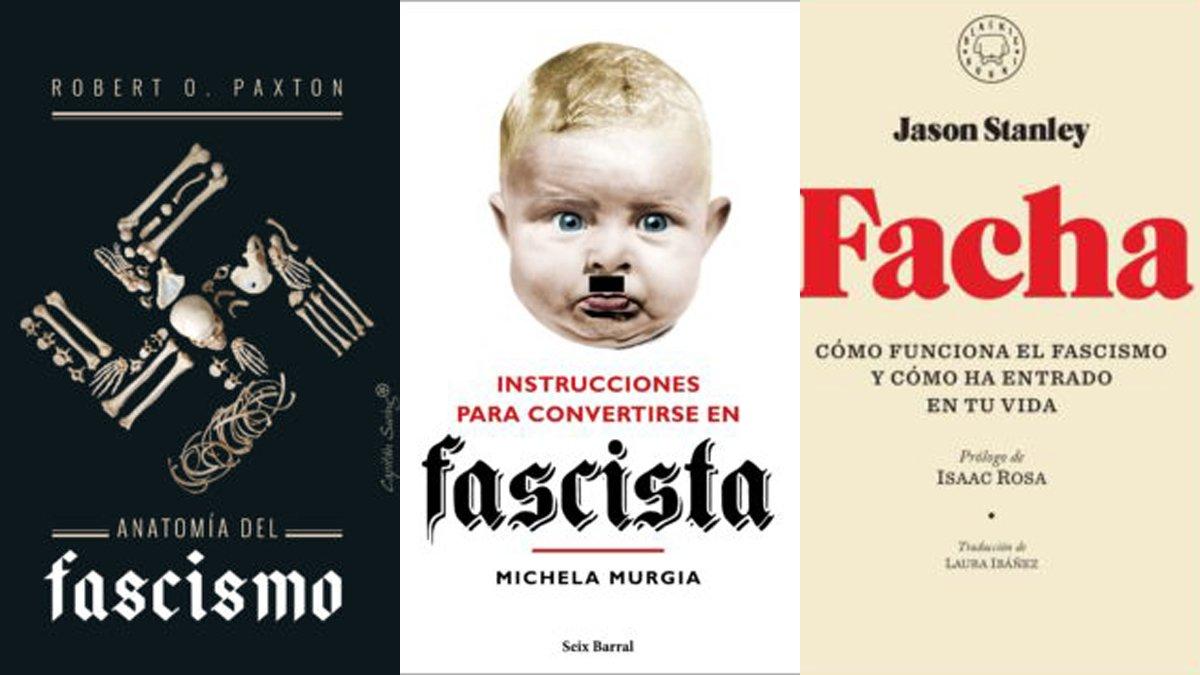 Tres portadas de libros recientes sobre el fascismo.