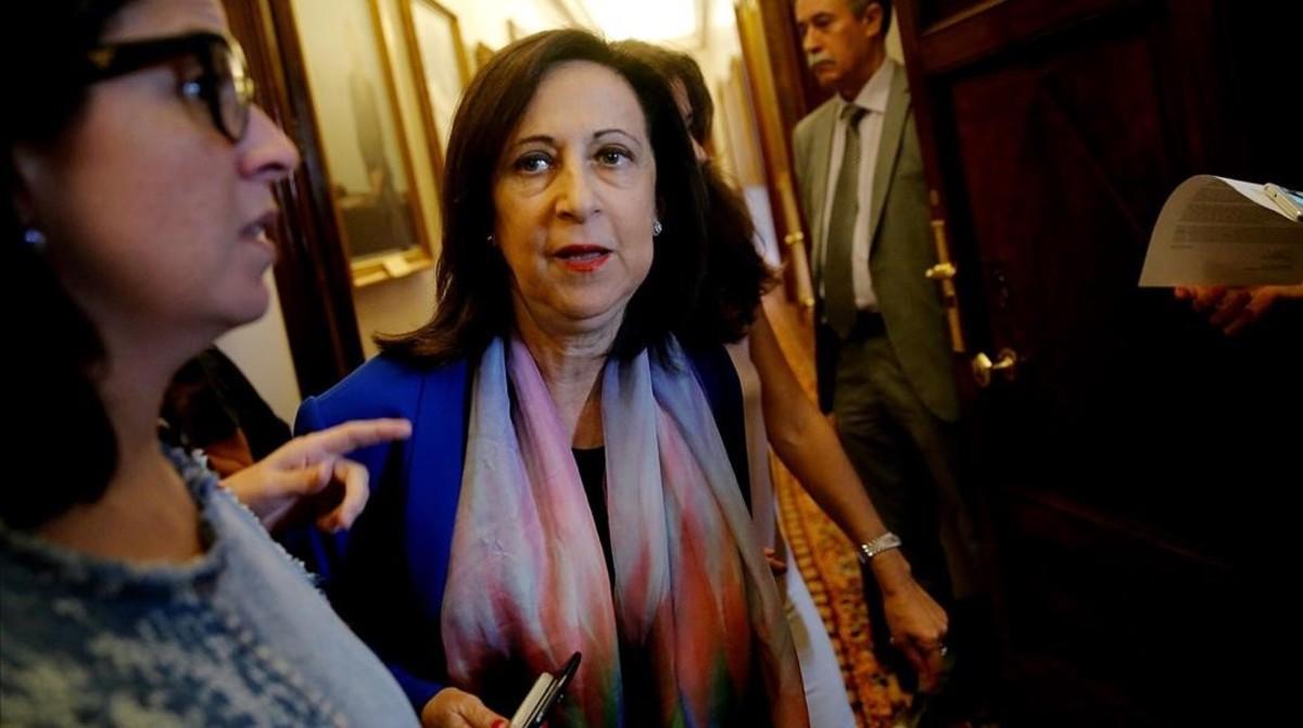 La portavoz del PSOE en el Congreso, Margarita Robles, a su salida de la Junta de Portavoces el pasado 3 de octubre.