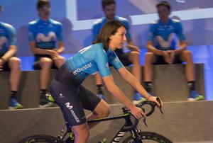 La ciclista francesa Aude Biannic, una de las figuras de la escuadra femenina del Movistar.