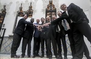 Los mienbros de la direccion del ISGlobal, Pedro Alonso, Leonardo Simao, Andrew Haines, Antoni Comin, Javier Solana,Jaume Giró,Antoni Plasència y Josep M.Antó.