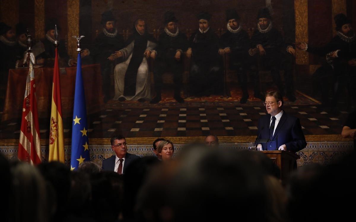 Ximo PuigEl President de la Generalitat durante el acto institucional que se celebra este martes 9 de octubrecon motivo del Dia de la Comunidad Valenciana