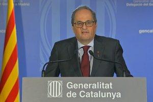 17/09/2020 El presidente de la Generalitat, Quim Torra, en una declaración institucional tras la vista en el Tribunal Supremo.