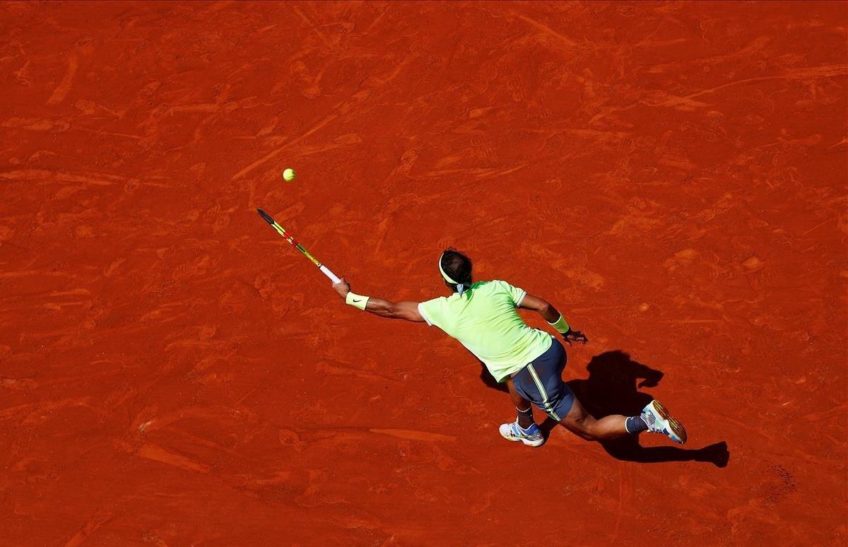 Primer partido de Rafa Nadal contra el alemán Yannick Hanfmannen Roland Garros, París.