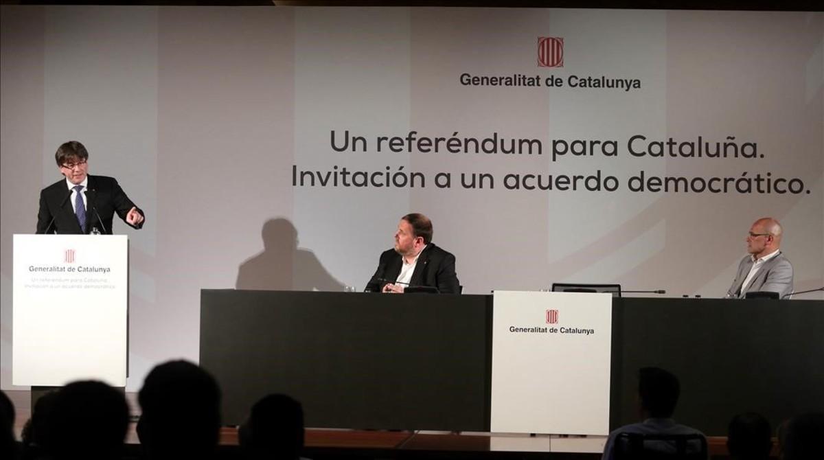 Carles Puigdemont, durante su conferenciaen Madrid sobre el referéndum, este lunes.