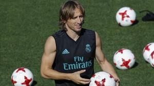 Modric, en un entrenamiento del Madrid.