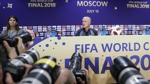 Deschamps, en la rueda de prensa de este domingo en Moscú.