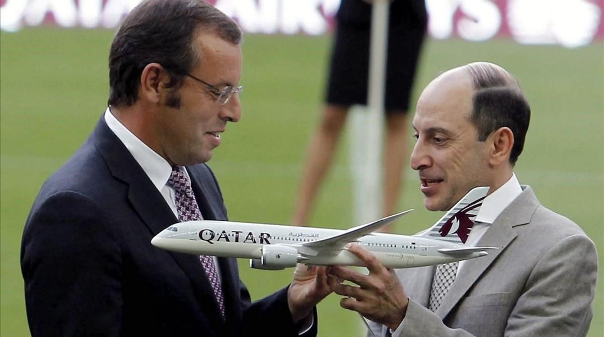 Sandro Rosell y el consejero delegado de Qatar Airways Akbar Al Albaker.