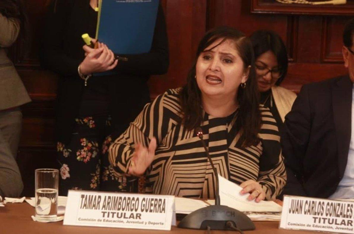Tamar Arimborgo, congresista convervadora que se oponeal enfoque de género en los textos escolares distribuidos por el Ministerio de Educación.