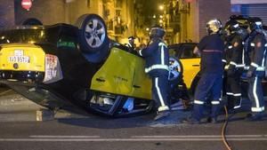 Accidente de taxi ocurrido el pasado agosto en la Barceloneta.