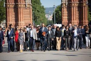 Torra, 'consellers' y diputados de JxCat acompañan a Buch hasta el TSJC.