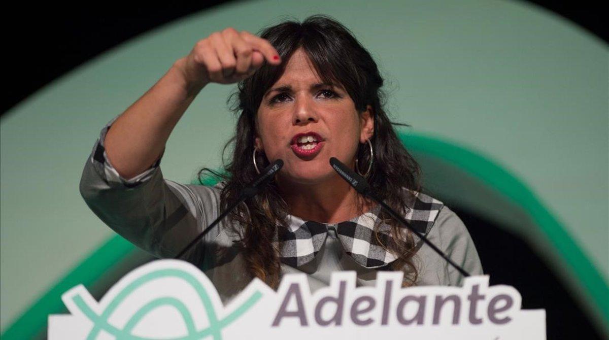 Teresa Rodríguez, líder de Adelante Andalucía, coalición entre Podemos e IU, durante el mitin de cierre de campaña el pasado viernes