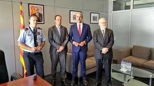 El comisario jefe de los Mossos,Eduard Sallent,el director general, Pere Ferrer,el conseller de Interior,Miquel Buch, y el secretario general de la Conselleria de Interior de la Generalitat, Brauli Duart.