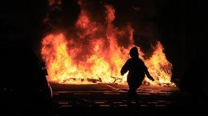 Disturbios en una manifestación convocada por los CDR, el pasado miércoles.