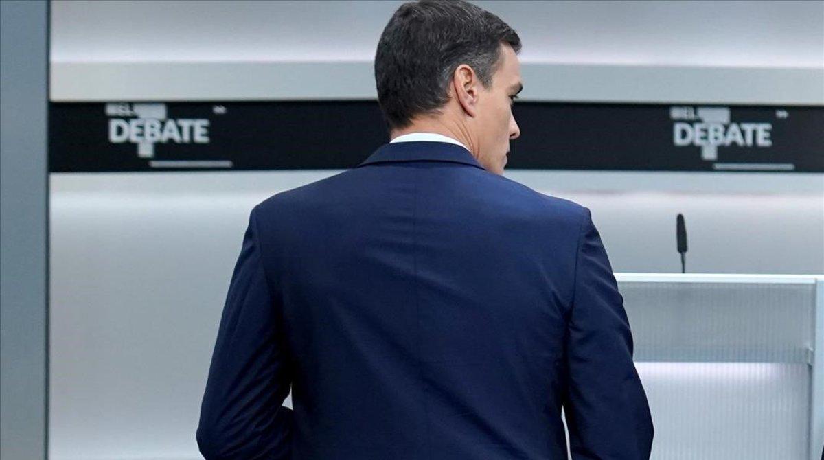 Pedro Sánchez, durante el debate electoral.