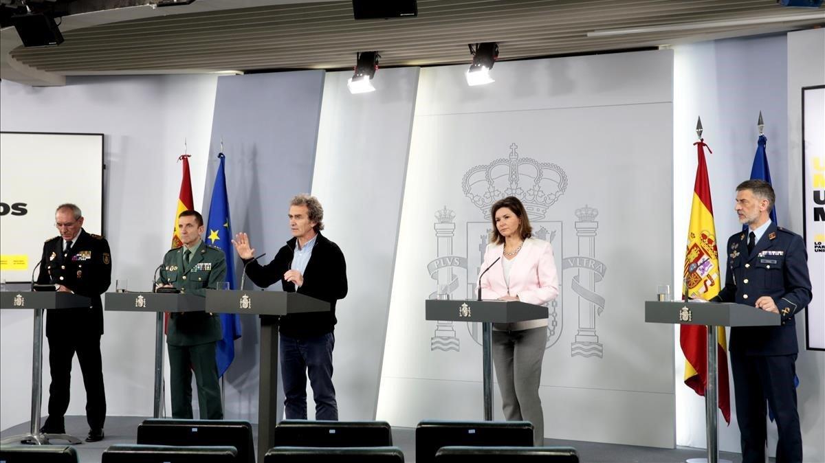 La rueda de prensa diaria de los técnicos en Moncloa, tal como se conoce hasta ahora.