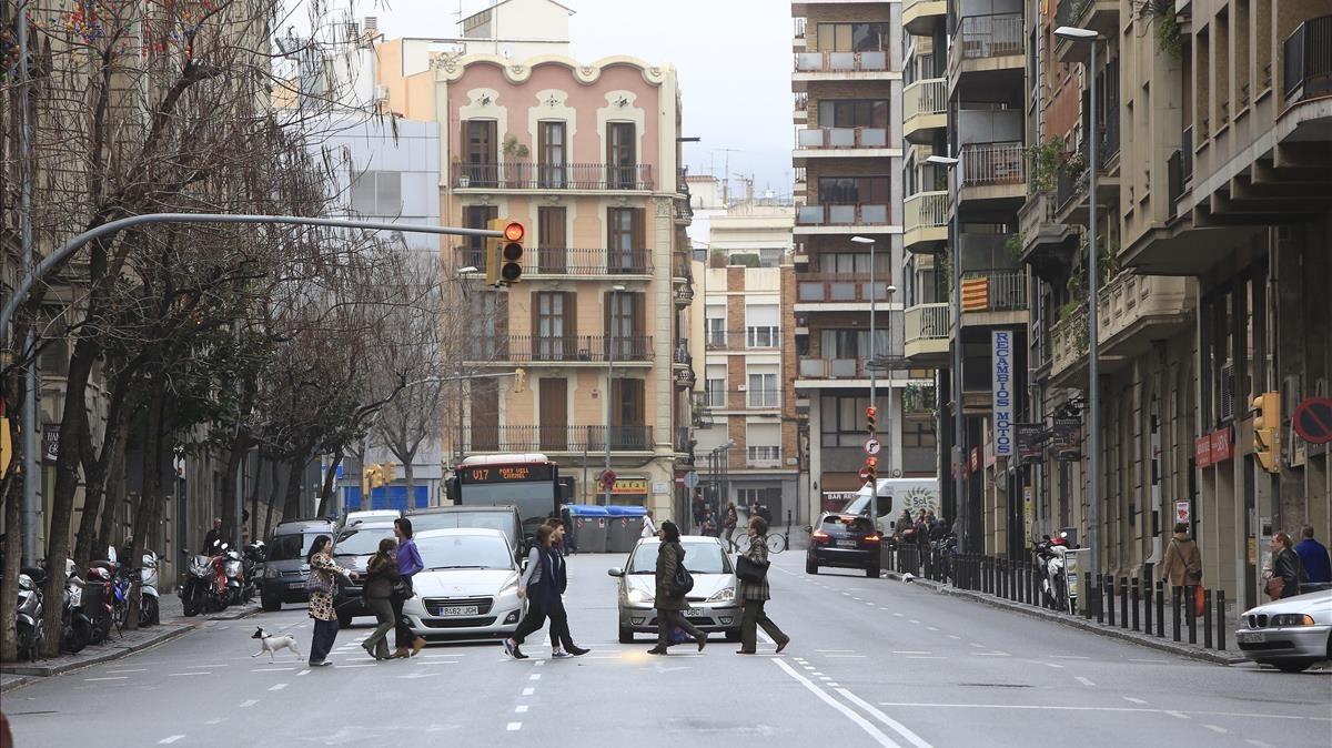 Aspecto actual de la calle de Príncep d'Astúries.