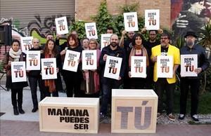 Presentación de la campaña en el recinto de Can Batlló, en Barcelona.