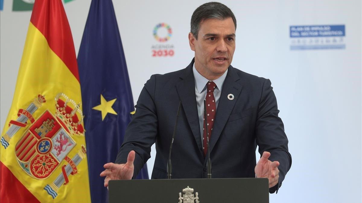 El presidente del Gobierno, Pedro Sánchez, da un discurso durante la presentación del Plan de Impulso al Sector Turístico.