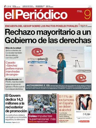 La portada d'EL PERIÓDICO del 9 d'abril del 2019