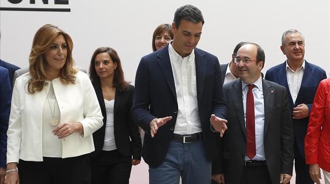 Susana Díaz, Pedro Sánchez y Miquel Iceta, este martes, en el comité federal del PSOE.