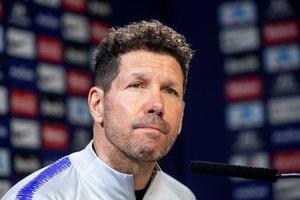 Diego Simeone, técnico del Atlético de Madrid, este viernes en rueda de prensa.