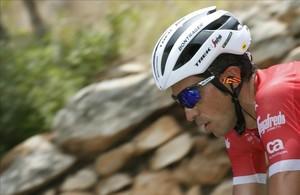 Alberto Contador, en pleno esfuerzo, durante la Vuelta.