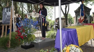 Anne Hidalgo, la alcaldesa de París, durante el acto de homenaje al fotógrafo republicano Francesc Boix.