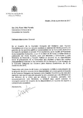 Carta de Montoro a la interventora general de la Generalitat, Rosa Vidal.