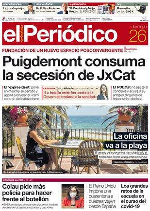 La portada de EL PERIÓDICO del 26 de julio del 2020