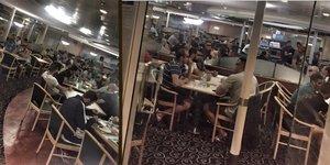 El comedor del buque Rhapsody, lleno de policías a la hora de cenar a finales de septiembre de 2017.