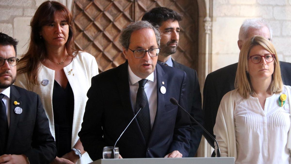 Declaración institucional de Quim Torra en el primer aniversario de los atentados de Barcelona y Cambrils.