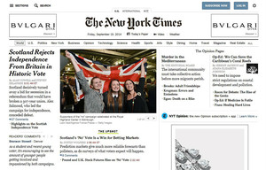 La edición digital de The New York Times, dedicada a Escocia.