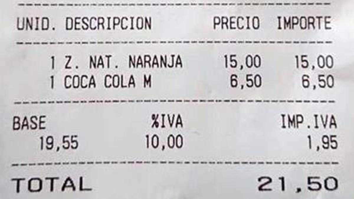 15 euros por un zumo de naranja, los abusivos precios de un local de Palma