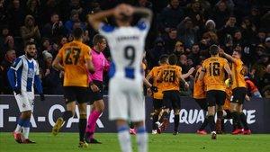Ferreira se lamenta tras uno de los goles del Wolverhampton.