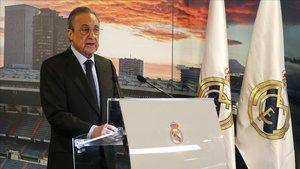 Florentino, en un discurso a los periodistas en el Bernabéu.
