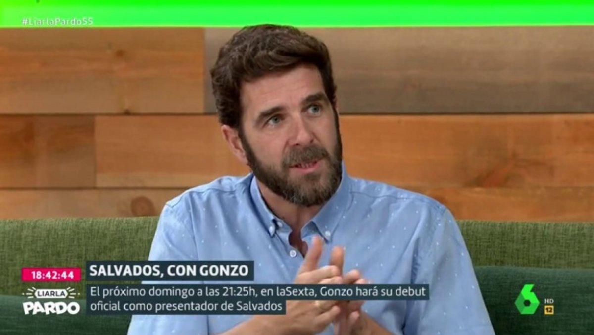 Gonzo, nuevo presentador de 'Salvados', en el plató de 'Liarla Pardo'.