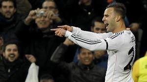 El jugador del Real Madrid Jesé celebra un gol ante el Atlético en la Copa de 2014