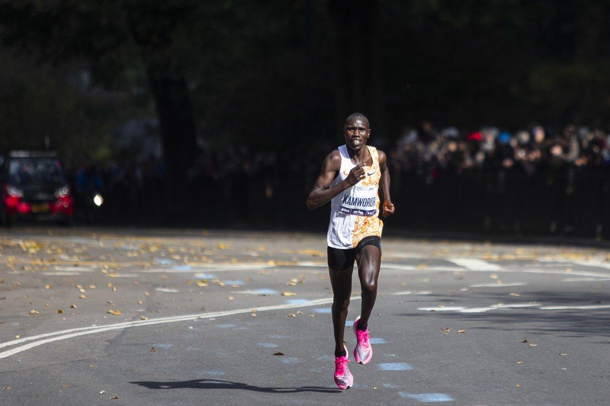 Geoffrey Kamworor, ganador del maratón de Nueva York, en pleno esfuerzo.