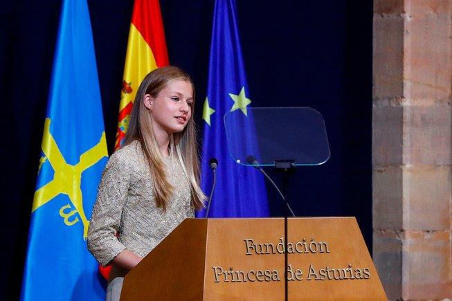Leonor, durante su discurso en la gala de los Premios Princesa de Asturias, en el Hotel Reconquista de Oviedo, el pasado 16 de octubre.