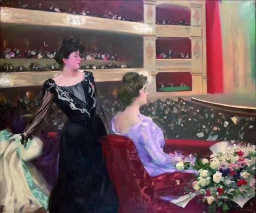 El Liceu, uno de los cuadros de Ramon Casas que cuelgan de las paredes del Cercle del Liceu.