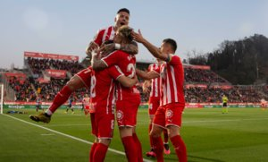 Los jugadores del Girona celebran un gol ante el Ponferradina en Montilivi