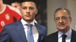 Luka Jovic y Florentino Pérez, presidente del Real Madrid, el día de la presentación del goleador.